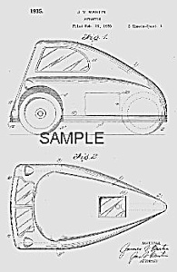 Patent Art: 1935 AUTOETTE 3-Wheeled CAR - Matted (Image1)