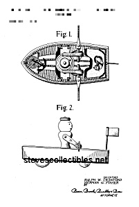 Patent Art: 1950s RACING ROWBOAT #730 Fisher Price Toy (Image1)