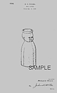 1930s Cream Top BABY HEAD MILK BOTTLE Patent (Image1)