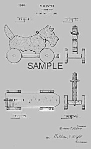 Patent Art: 1940s Scottie Dog Pull Toy - Matted