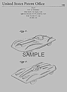 Patent Art: 1950s MATTEL Jaguar Toy Vehicle - Matted (Image1)