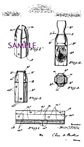 Patent Art: 1920s Shaving Brush Case Design Barber Shop
