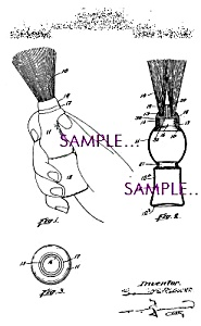 Patent Art: 1920s Shaving Brush Design Barber Shop
