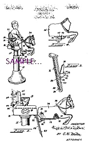 Patent Art: 1920s Horse Shaped Barber Shop Chair- Matted