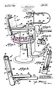 Patent Art: 1920s Barber Shop Chair- Matted