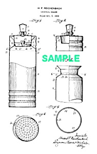 Patent Art: 1930s Chase Gaiety Cocktail Shaker - Matted