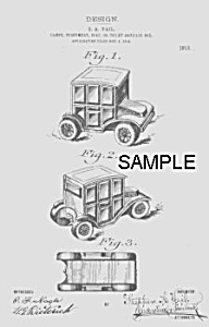 Patent Art: 1910s AUTOMOBILE Candy Container - Matted (Image1)