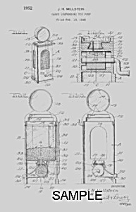 Patent Art: 1950s GAS PUMP Candy Container - Matted (Image1)