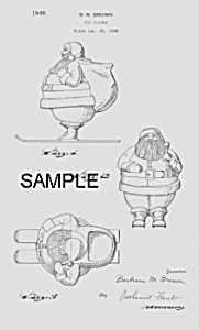 Patent Art: 1940s SANTA ON SKIS Candy Container-Matted (Image1)