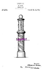 Patent Art: 1920s Barber Shop BARBER POLE-matted-5x7 (Image1)