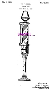 Patent Art: 1920s Barber Shop BARBER POLE B-matted-5x7 (Image1)