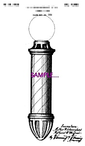 Patent Art: 1920s Barber Shop BARBER POLE C - 5x7 (Image1)