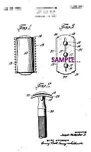 Patent Art: 1930s Gillette Safety Razor Blade - 5x7