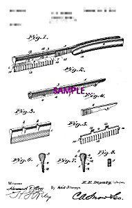 Patent Art:1900s Straight Edge SAFETY RAZOR-matted-8x10 (Image1)