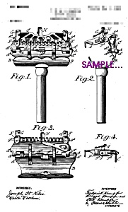 Patent Art: Early 1900s Kampfe Safety Razor-(2) Matted