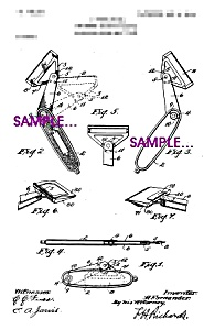 Patent Art:1900s FOLDING SAFETY RAZOR-matted-8x10 (Image1)