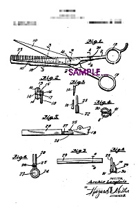 Patent Art: 1920s Hair Scissors - 8x10 - Matted