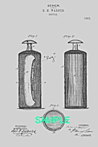 Patent Art: 1880s WARNER TIPPECANOE Bottle - matted (Image1)