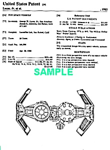 Patent:1980s Star Wars Tie Bomber Toy Vehicle