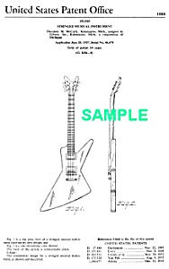 Patent Art: 1958 Explorer Gibson Guitar - Matted