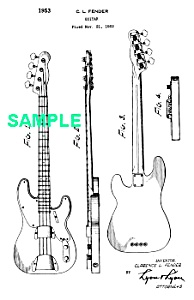 Patent Art: 1953 Fender Precision Bass Guitar - Matted
