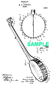 Patent Art: 1880s Cubley Banjo Musical Instrument
