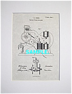 Patent Art: 1860s Thomas Edison TICKER TAPE - matted (Image1)