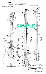 Patent Art: 1964 Fender Guitar Adjustable Neck - Matted