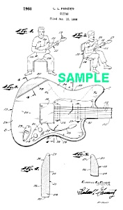 Patent Art: 1960s Fender Electric Guitar - Matted
