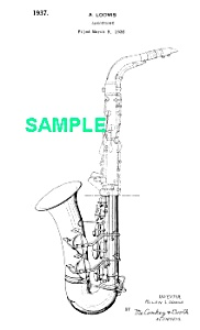 Patent Art: 1930s Loomis Conn Saxophone - Matted