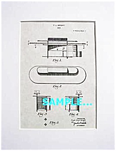 Patent Art: 1930s Frank Lloyd Wright Desk -matted Print