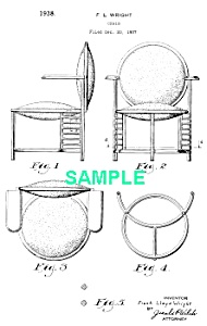 Patent Art: 1930s FRANK LLOYD WRIGHT Chair - Matted (Image1)