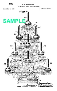 Patent Art: 1950s BUBBLING Christmas LIGHT Tree -Matted (Image1)
