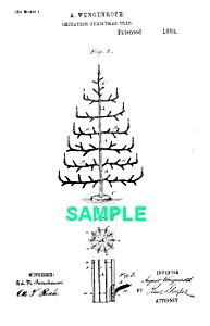 Patent Art: 1880s CHRISTMAS FEATHER TREE - Matted Print (Image1)