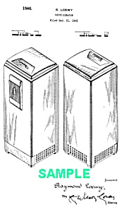 Patent Art: 1940s Loewy COCA COLA REFRIGERATOR - matted (Image1)