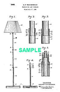 Patent Art: 1940s Art Deco CHASE TELESCOPING LAMP (Image1)