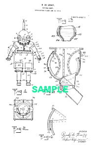 Patent Art: 1920s DIVING SUIT - Matted Print (Image1)