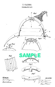 Patent  Art: 1880s FIRE HELMET - Matted (Image1)
