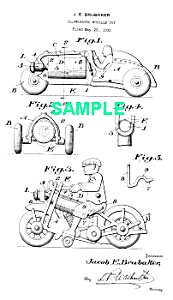 Patent Art: 1930s HUBLEY TOY MOTORCYCLE-matted (Image1)