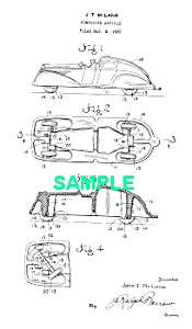 Patent Art: 1930s Sun Rubber Toy Auto-matted