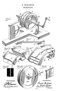 Patent: 1880s Berliner GRAMOPHONE (Image1)