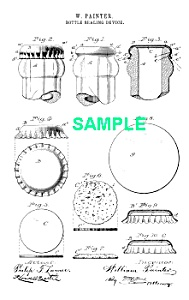 Patent Art: 1890s BOTTLE CAP - Matted Print (Image1)