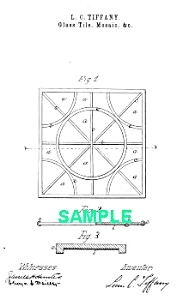 Patent Art: 1880s L C TIFFANY Glass Tile - Matted Print (Image1)