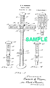 Patent Art: 1923 1st TRAFFIC SIGNAL - Matted Print (Image1)