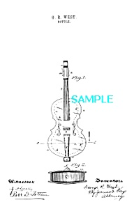 Patent Art: 1890s VIOLIN PERFUME BOTTLE/Bottom Opening (Image1)