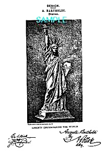 Patent Art: 1870s STATUE OF LIBERTY - matted print (Image1)