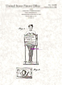 Patent Art: 1950s CIGARETTE GIRL VENDING MACHINE-matted (Image1)