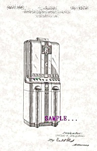 Patent Art: 1940s Art Deco CIGARETTE VENDING MACHINE (Image1)