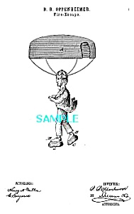 Patent Art: 1870s FIRE ESCAPE (Parachute!!) (Image1)