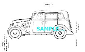 Patent Art: 1933 WILLYS-OVERLAND AUTOMOBILE - matted (Image1)